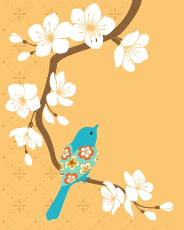 Blue bird on blossom cherry branch