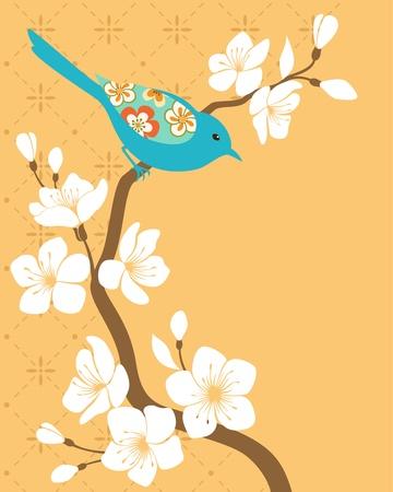 Blauwe vogel op bloesem kersentak