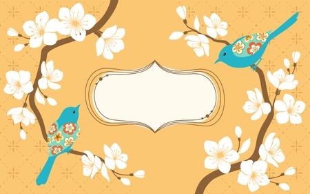 Twee kersen bloesem takken met blauwe vogel en ruimte voor tekst