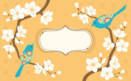Two blossom cherry branches with blue bird and space for text   Illustration