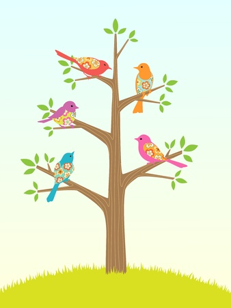 Abstract tree with flower birds  Spring summer illustration