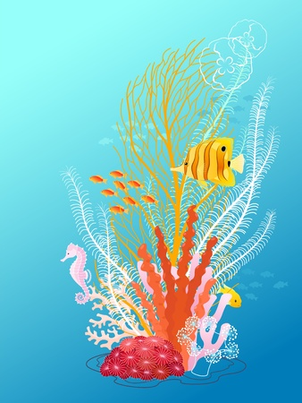 coral reef underwater: Underwater composition for your design. Illustration