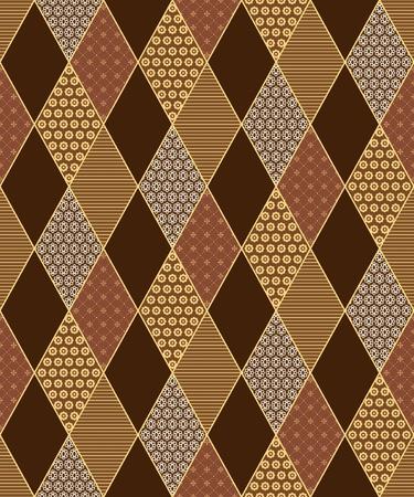 Naadloze ruit patroon in patchwork stijl. Stock Illustratie