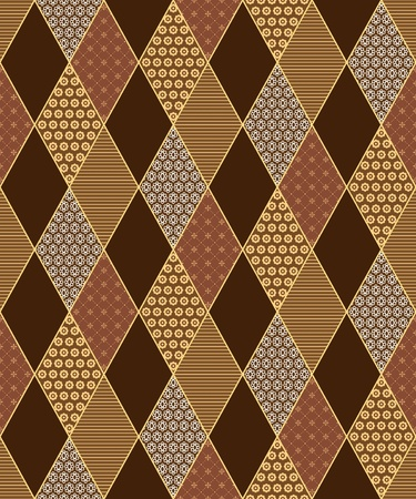 Seamless lozenge pattern in patchwork  style. Vector