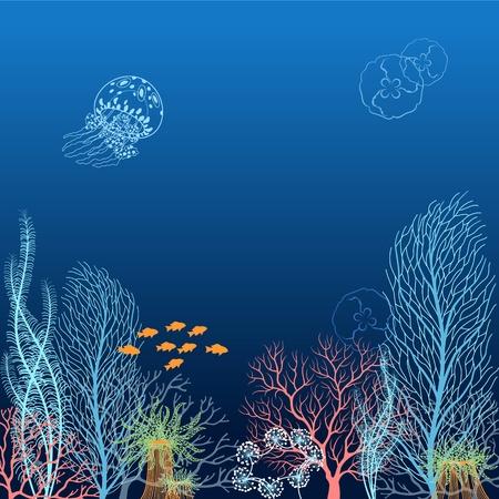 Onderwater achtergrond met koralen, kwallen, algen, actinias en vissen
