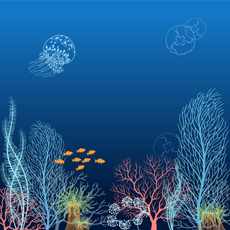marine scene: Underwater background with corals, jellyfishes, algae, actinias and fishes