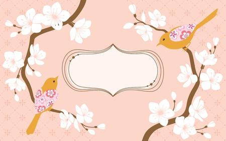 flor de sakura: Dos ramas de los cerezos en flor con flores y aves espacio para el texto