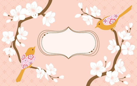 Two blossom cherry branches with flower bird and space for text