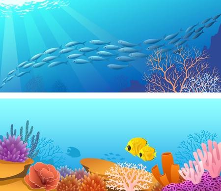 Twee banners erts achtergronden met school van vissen en zonnestralen en het leven onder water scene.