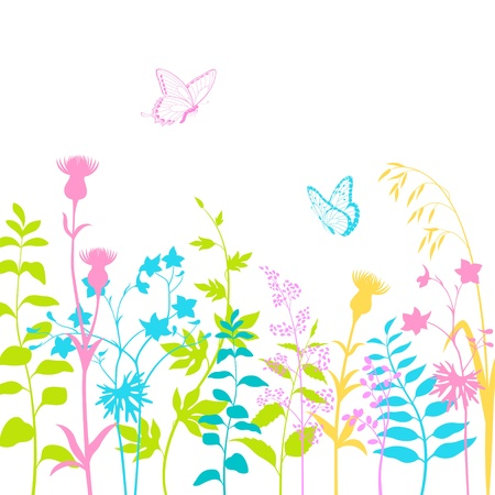 Colorido diseño floral con mariposas multicolores y las siluetas de la hierba.