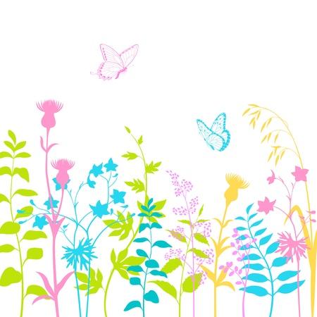 mariposas amarillas: Colorido diseño floral con mariposas multicolores y las siluetas de la hierba.