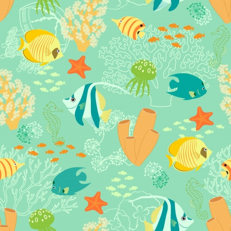 Seamless repeat pattern with corals, fishes, jellyfishes, sea horses and sea stars. Vector