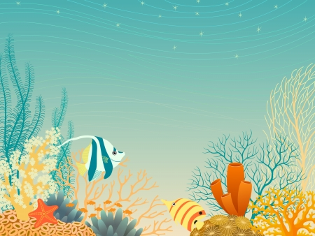 Tropical underwater landscape in warm colors. Vector