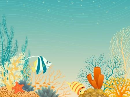 Tropische onderwater landschap in warme kleuren.