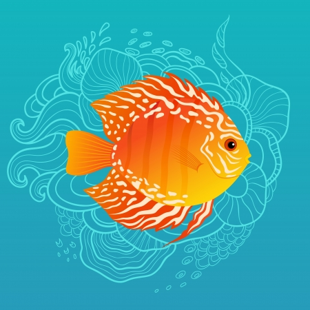 Tropical fish on blue hand drawn background
