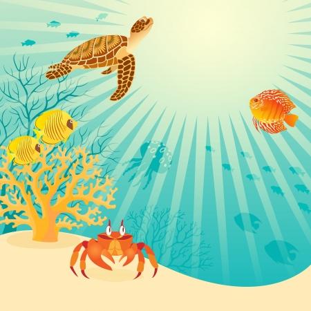 Illustratie van het leven onder water met plaats voor uw tekst bevat dekkingsmasker