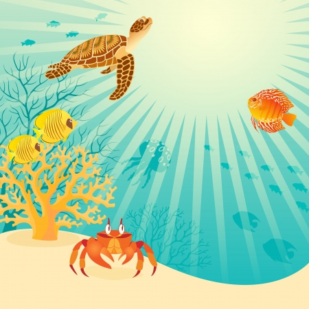 Illustration of underwater life with place for your text contains opacity mask
