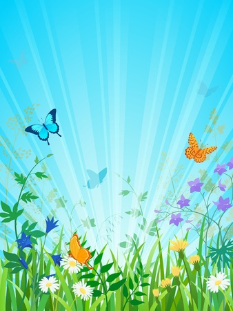 opacity: Summer meadow scene with sun rays. Vector contains opacity masks and transparency objects. EPS 10. Illustration