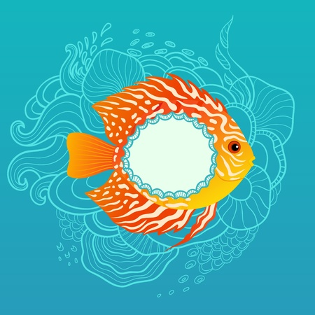 Tropical fish with copy space on blue hand drawn background. Vector