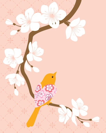 Bird on blossom cherry branch  Stock Vector - 14586095
