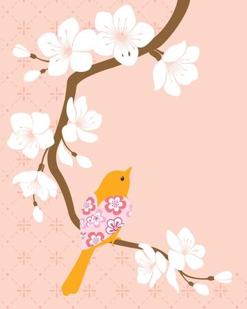 ramo di ciliegio: Uccello sul ramo di fiori di ciliegio