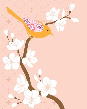 Bird on blossom cherry branch Stock Vector - 14586092