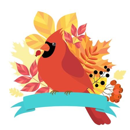 Design element herfst bladeren, bessen en kardinaal vogel zitten op lint Stockfoto - 14944756