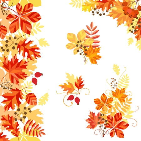 Vertical seamless pattern, corner and design elements on autumn theme. Vector