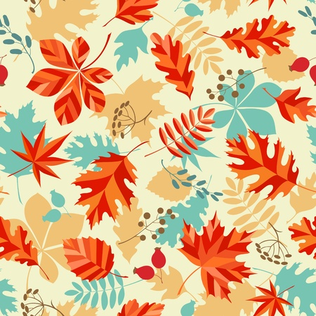 Seamless pattern with autumn leaves and berries. Illustration