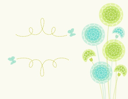 Hand drawn dandelions and place for your text   Vector contains transparent objects  EPS 10