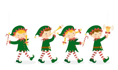 elf cartoon: Four Christmas elves carrying a white banner for your design