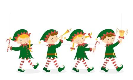 Vier Kerst elfen met een witte banner voor uw ontwerp