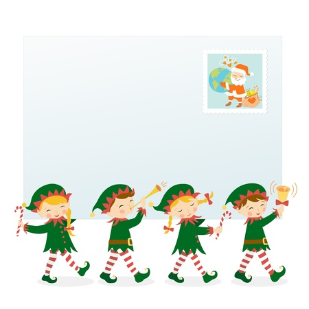 elf: Four Christmas elves carrying an envelope with place for your text  Illustration