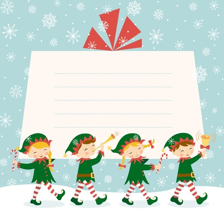 elf: Four Christmas elves carrying a gift