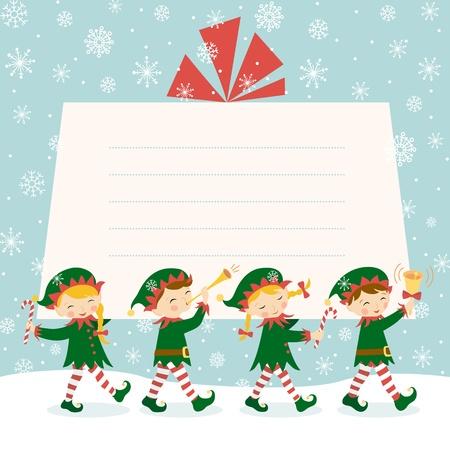Quatre lutins de Noël portant un cadeau