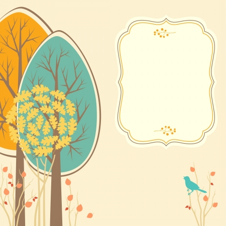plant tree: Autumn scene with decorative trees and space for text.
