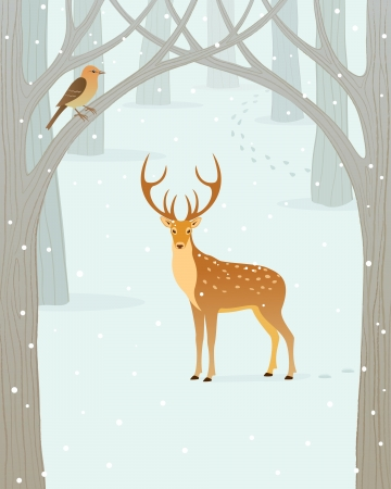 Scene in winter forest  Illustration