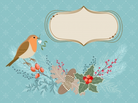 ロビン鳥、冷ややかなガーランド、バナー、テキスト付きのクリスマス カード。