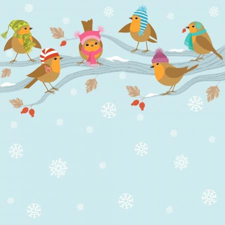 Winter achtergrond met schattige vogels in hoeden zittend op tak Stock Illustratie