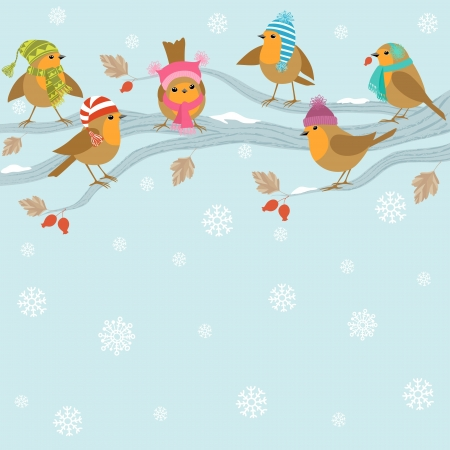 Winter background with cute birds in hats sitting on branch  Illustration
