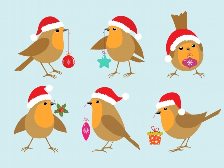 Set of Robins in Santa hats with Christmas decorations  Illustration