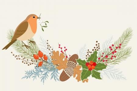Christmas garland with Robin bird   Ilustração