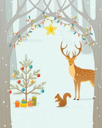 숲의 동물을위한 크리스마스 선물. 일러스트