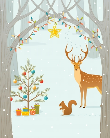 winter scene: Christmas gifts for forest animals.