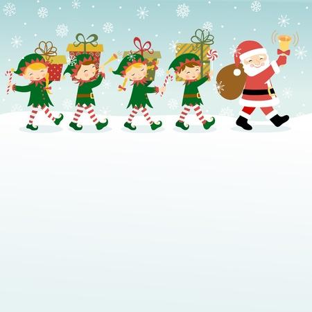 クリスマス サンタ クロース、エルフとコピー領域と背景。