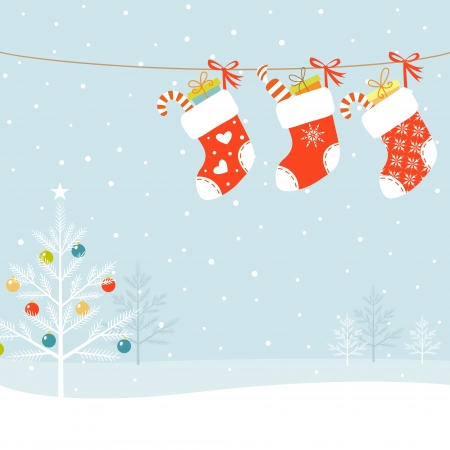 Christmas socks and Christmas tree on snowed background. Vector