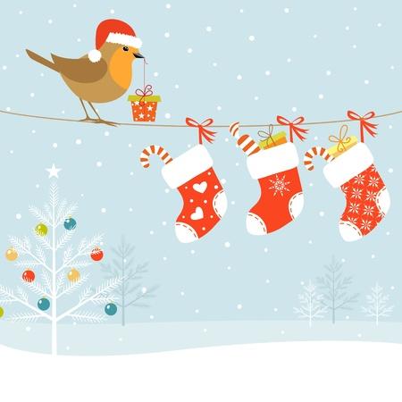 Kerst illustratie met Robin vogel, kerst sokken en kerstboom.