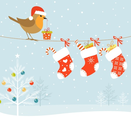 Kerst illustratie met Robin vogel, kerst sokken en kerstboom. Stock Illustratie