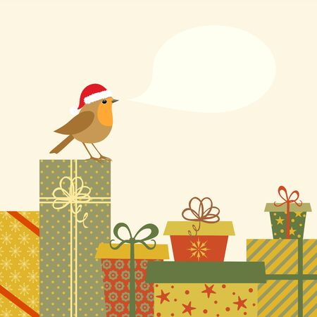 Christmas illustration with gifts and Robin bird. Vector