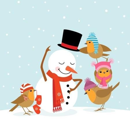 Funny Robins birds making a snowman. Ilustração